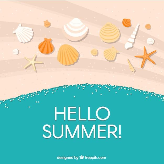 Happy zomer achtergrond met schelpen in het zand Premium Vector