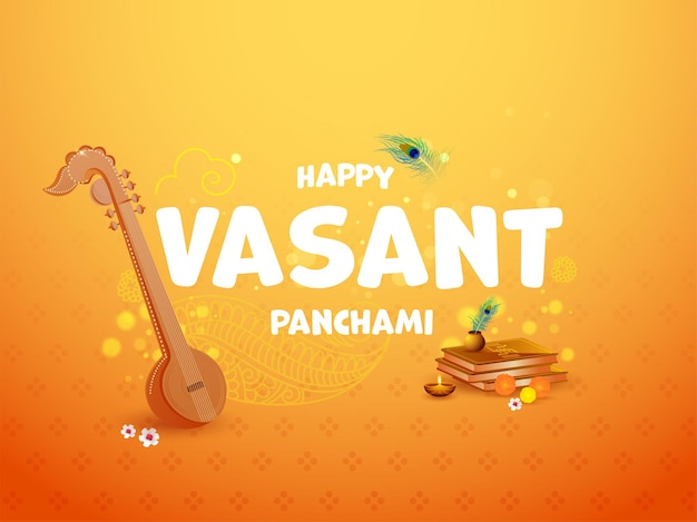 Hapy vasant panchami-tekst met veena-instrument, heilige boeken, bloemen, brandende olielamp Premium Vector