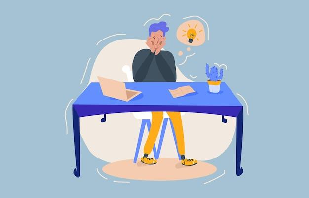 Harde werker, kantoorman bevindt zich in een stressvolle situatie, zit achter het bureau en probeert de problemen op te lossen. de maat van een deadline, het nemen van moeilijke beslissingen. Premium Vector
