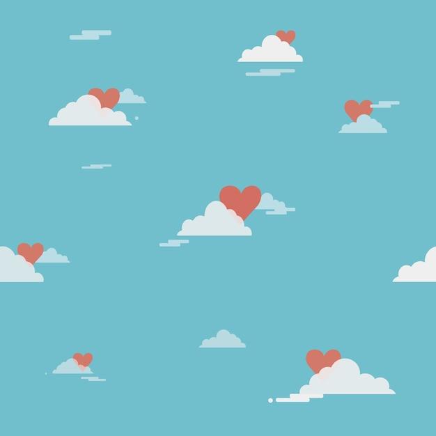 Hart achter een wolken met bluesky op de glanzende dag Premium Vector