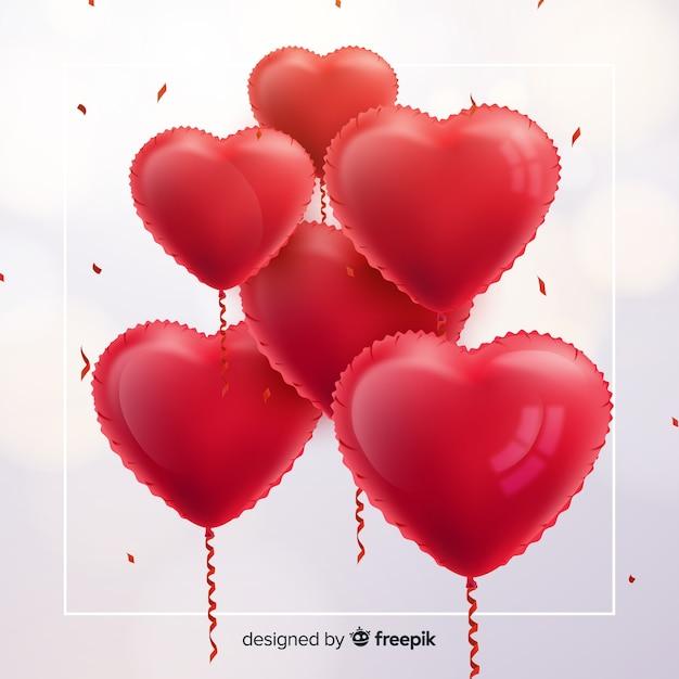 Hart ballonnen achtergrond Gratis Vector