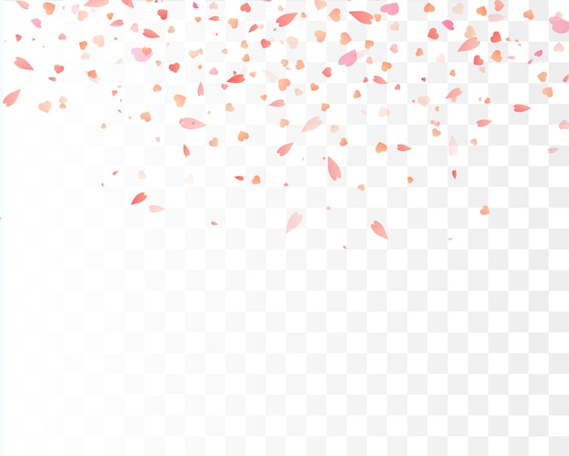 Hart confetti vallen geïsoleerd. valentijnsdag . hart vormen Premium Vector