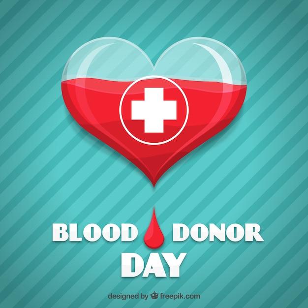 Hart gestreepte achtergrond voor bloeddonor dag Gratis Vector