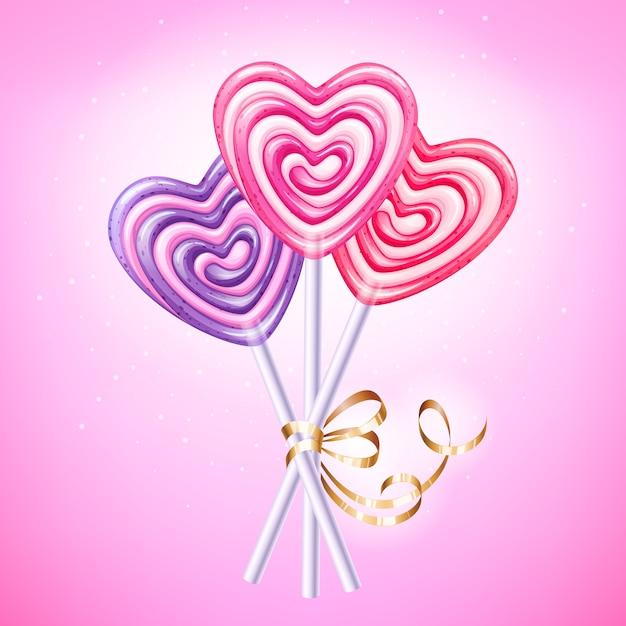 Hart lollipop vectorillustratie. zoet spiraalvormig suikergoed op stok met gouden lint en boog. liefdes symbool. Premium Vector