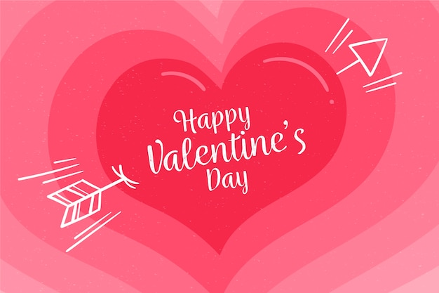 Hart met kleurovergang roze tinten voor valentijnsdag achtergrond Gratis Vector