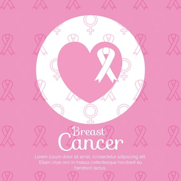 Hart met lint borstkanker Gratis Vector