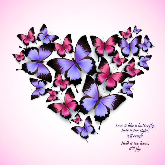 Hart met vlinders Gratis Vector