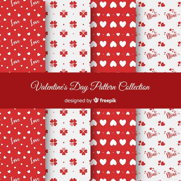 Harten en stippen valentijn patronen Gratis Vector