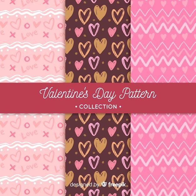 Harten en zigzag valentijnskaartpatronen Gratis Vector