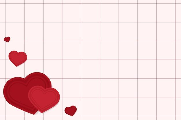 Harten op raster rode achtergrond Gratis Vector