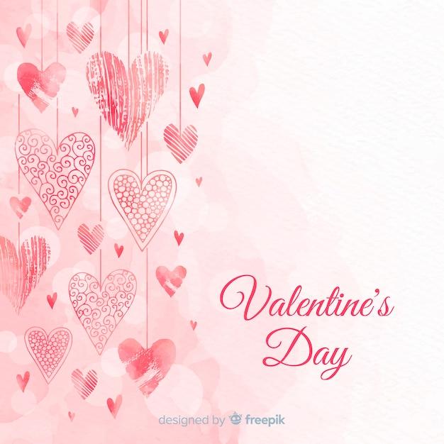 Harten opknoping valentijnsdag achtergrond Gratis Vector