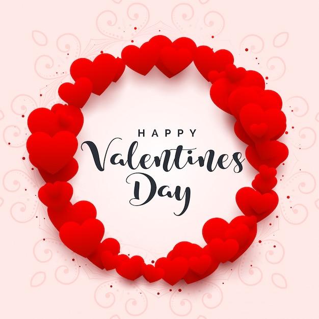 Hartenkader voor gelukkige valentijnskaartendag Gratis Vector