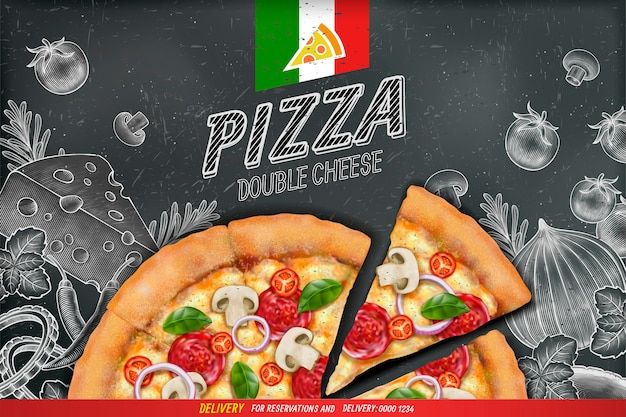 Hartige pizza-advertenties met rijk toppingsdeeg op gegraveerde stijlkrijt doodle achtergrond Premium Vector