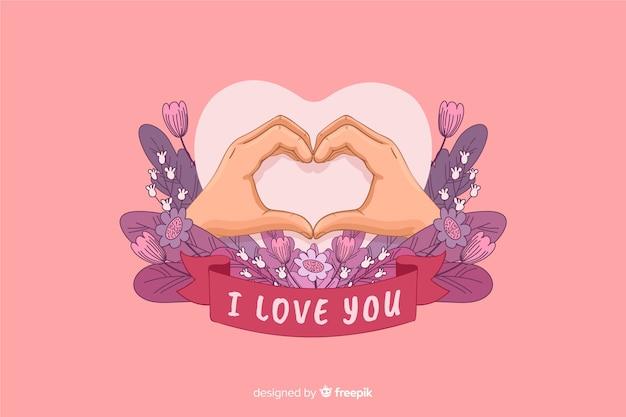Hartvorm gemaakt met handen en ik hou van je lint Gratis Vector