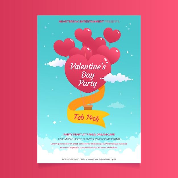 Hartvormige ballonnen en linten voor valentijnsdag poster Gratis Vector