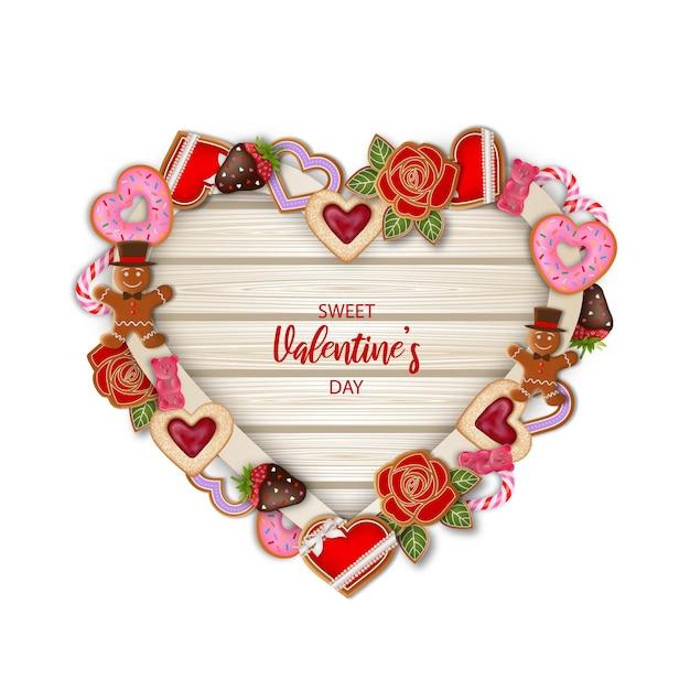 Hartvormige houten plank met valentijnsdag snoep en suikergoed Premium Vector
