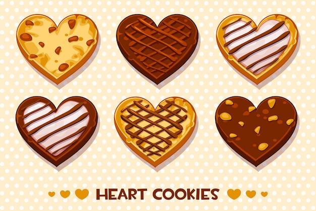 Hartvormige peperkoek en chocoladekoekjes, instellen happy valentijnsdag Premium Vector