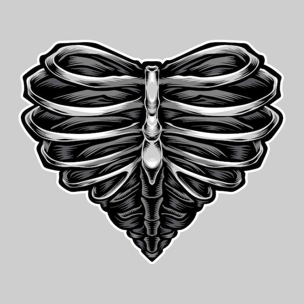 Hartvormige skelet illustratie Gratis Vector