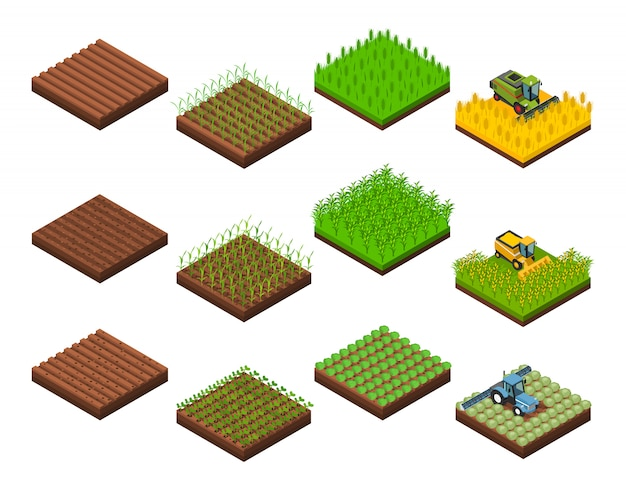 Harvest work elements set Gratis Vector