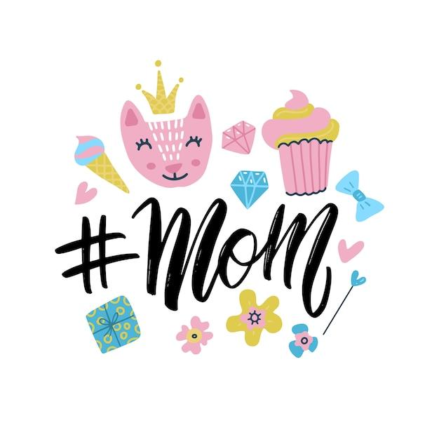 Hashtag mom kalligrafische inscriptie met schattige doodle hand getrokken kinderen dingen illustratie geïsoleerd op een witte achtergrond. minimalistische hand belettering illustratie op happy mother's day. Premium Vector