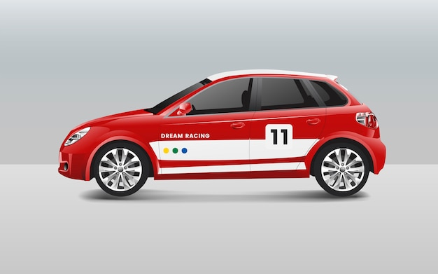 Hatchback raceauto ontwerp vector Gratis Vector