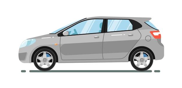 Hatchback stadsauto op wit wordt geïsoleerd dat Premium Vector