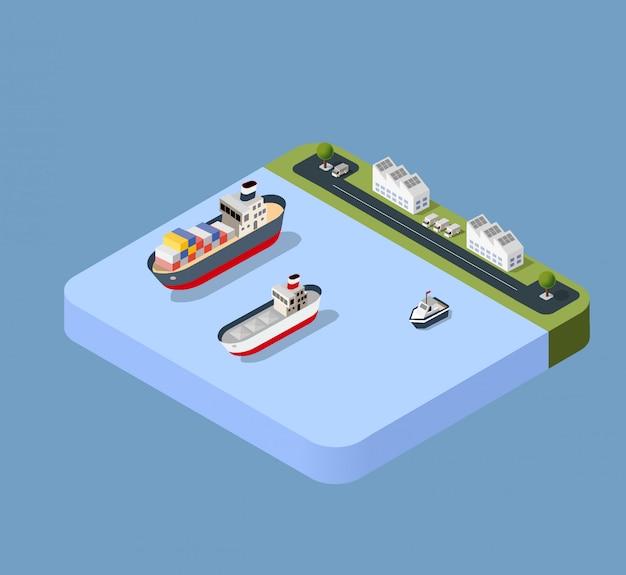Haven vrachtschip vervoer Premium Vector