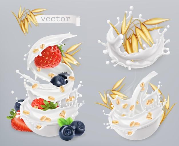 Havermout. haverkorrels, aardbeien, bosbessen en melk spatten. realistische pictogramserie Premium Vector