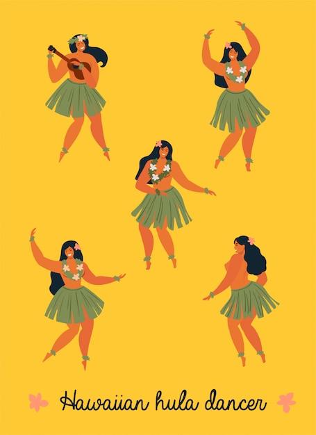 Hawaiiaanse hula dansers jonge mooie vrouw banner Premium Vector