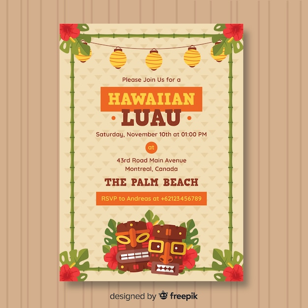 Hawaiiaanse luau feest folder Gratis Vector