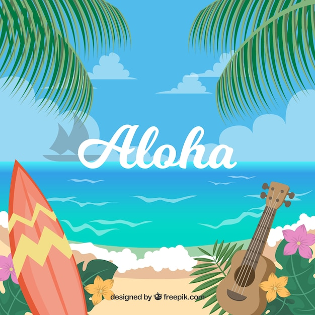 Hawaiiaanse strandlandschap achtergrond Gratis Vector