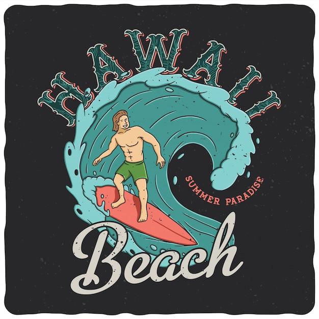 Hawaiiaanse surfer op de golf Premium Vector