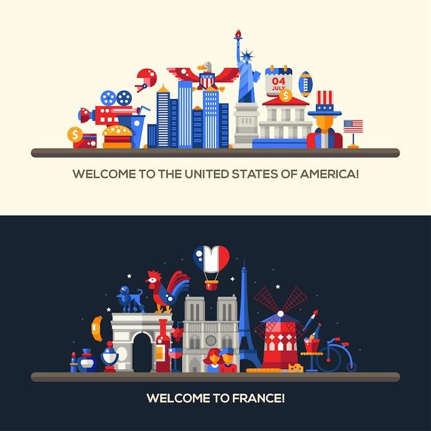 Headers met pictogrammen en infographicselementen met oriëntatiepunten en beroemde franse en amerikaanse symbolen Premium Vector