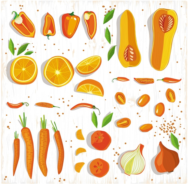 Healhy voedselconcept. vruchten en groentenpatroon op de houten achtergrond, hoogste mening. Premium Vector