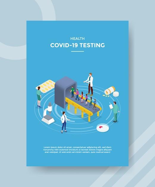 Health covid 19 testende wachtrijen stappen in bij medisch onderzoekstoestel voor sjabloonflyer Gratis Vector