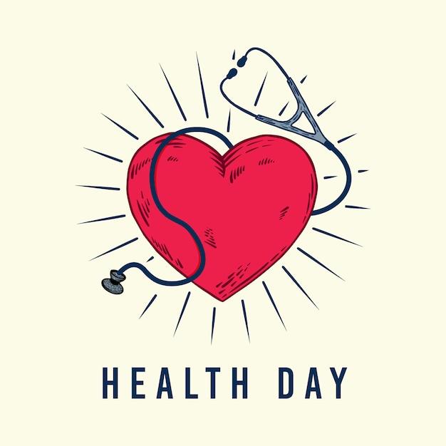 Health day hand drawn heart and stethoscope artwork Premium Vector