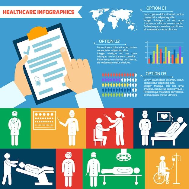 Healthcare infographic template Gratis Vector