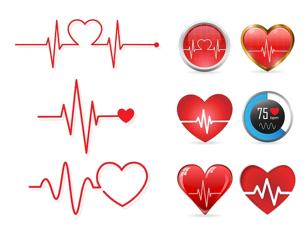Heartbeat pictogramserie Premium Vector