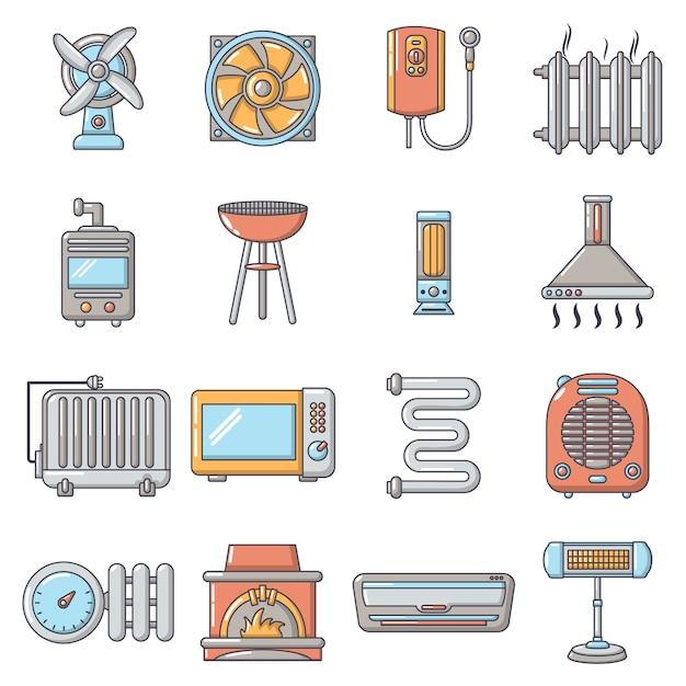 Heat cool air flow tools pictogrammen instellen Premium Vector