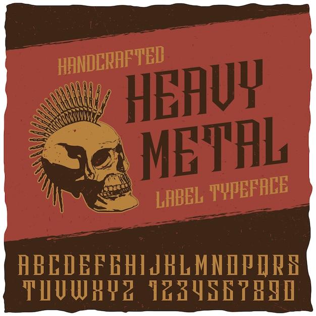 Heavy metal label lettertype poster met punkschedel Gratis Vector
