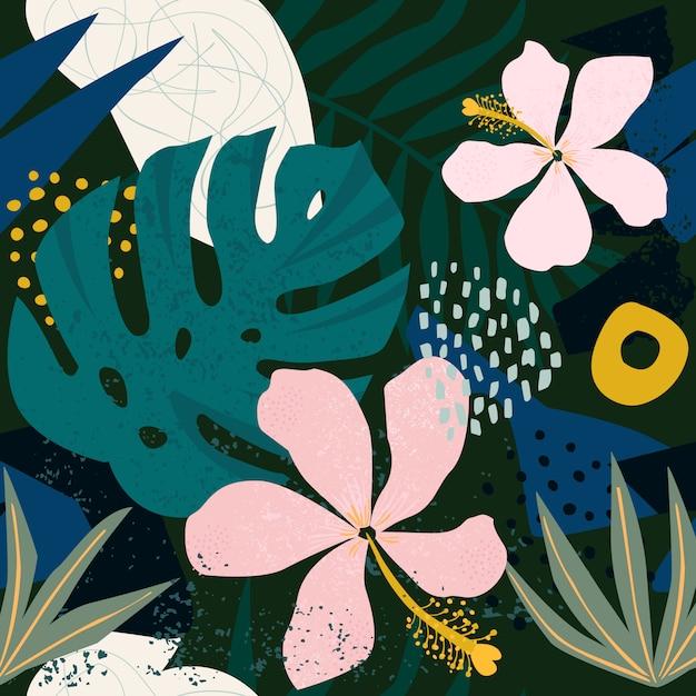 Hedendaagse hibiscus bloemen hawaiiaanse patroon van de collage Premium Vector