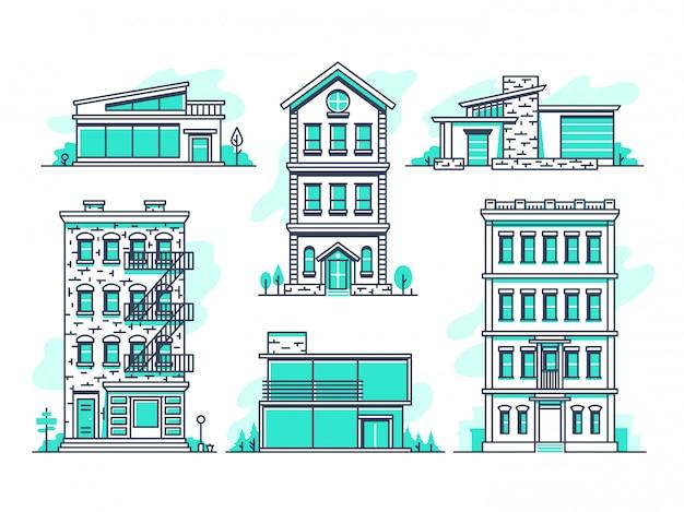 Hedendaagse stedelijke en voorsteden huizen lijn pictogrammen instellen. Premium Vector