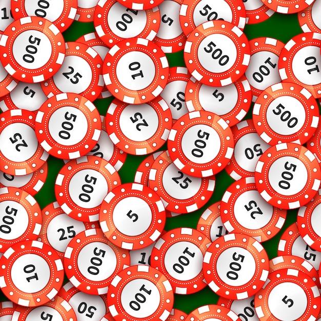 Heel wat rode casinospaanders op groen doek naadloos patroon Premium Vector