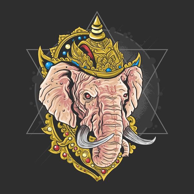 Heer ganesha hindu god kunstwerk vector Premium Vector