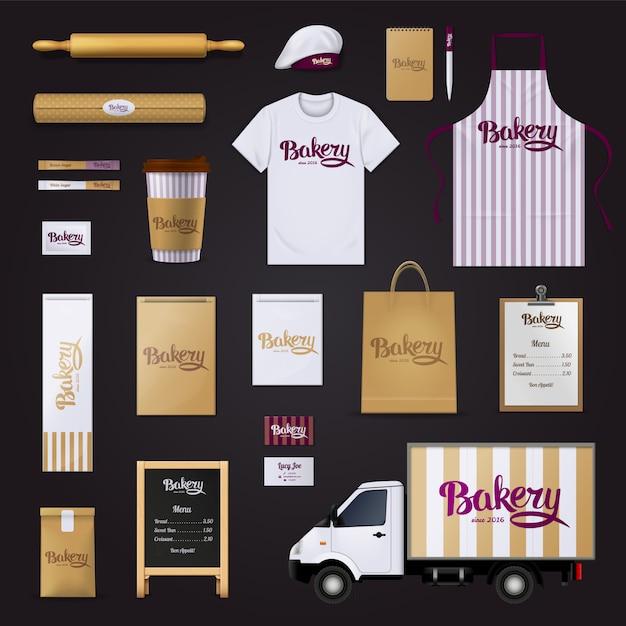 Heerlijk creatieve bakkerij banketbakkerij visueel Gratis Vector