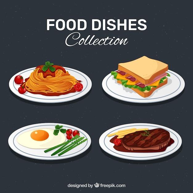 Heerlijk eten schotel collectie Gratis Vector
