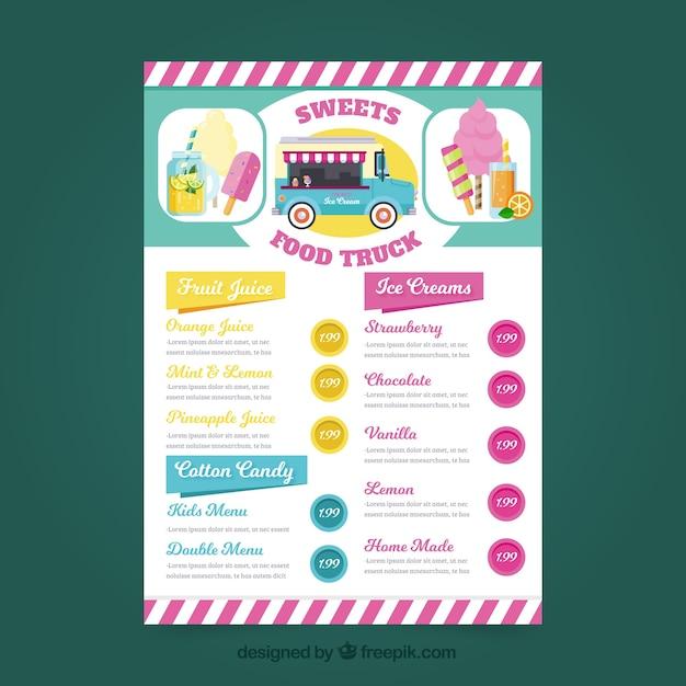 Heerlijk eten truck menu met ijsjes Gratis Vector
