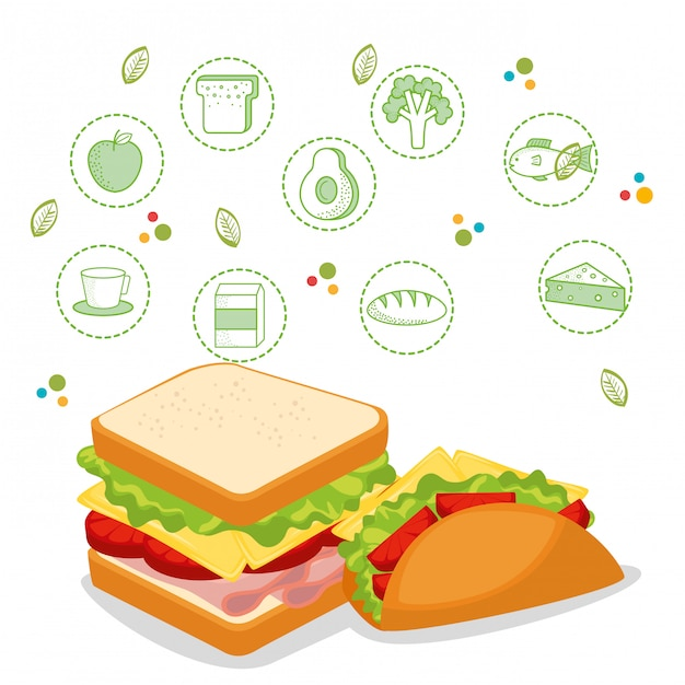 Heerlijk fastfoodmenu Gratis Vector