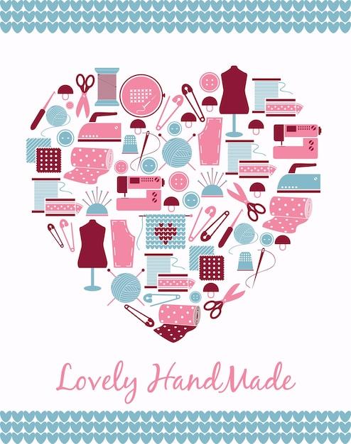 Heerlijk handgemaakt. hartvorm teken van naaien, breien en patroondelen. Gratis Vector