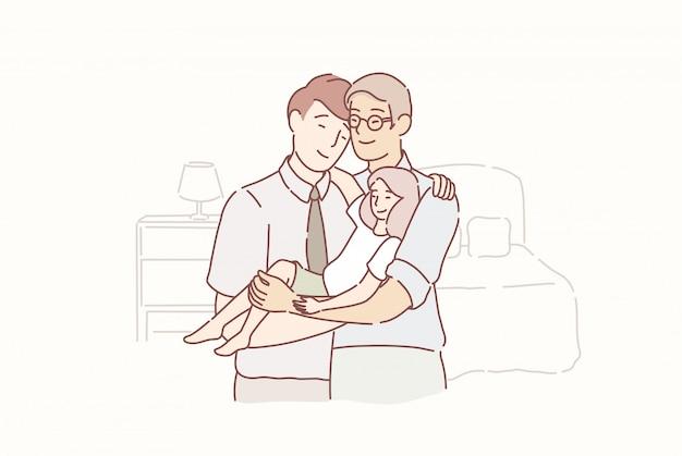 Heerlijk homo gezin. twee volwassen mannen en kleine baby die zich samen in de ruimte thuis verenigen. Premium Vector